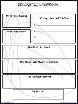 FREE! End of School Year Memory Book for Grades K-5 printable