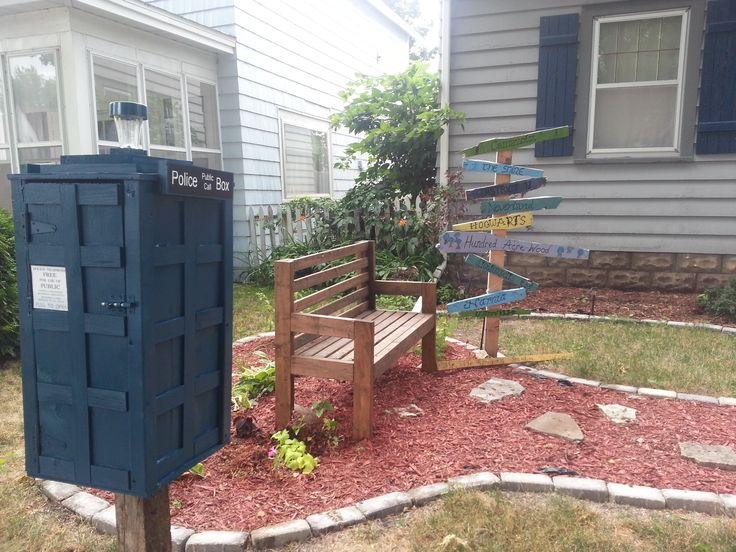 Rachael Kaiser. La Crosse, WI. My kids live Dr Who so I had to build a tardis little free library. it looks great in our reading garden with the way sign full of our favorite places from the books we've read (Narnia, the Shire, Hogwarts)!