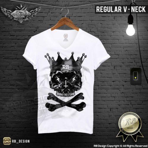 Men's Diamond Skull T-shirt Riding The Storm Slogan RB Design Tank Top MD265