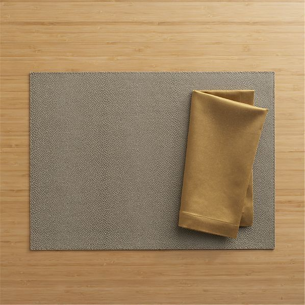 Crate & Barrel Pebble Brown Placemat and Sateen Gold Napkin