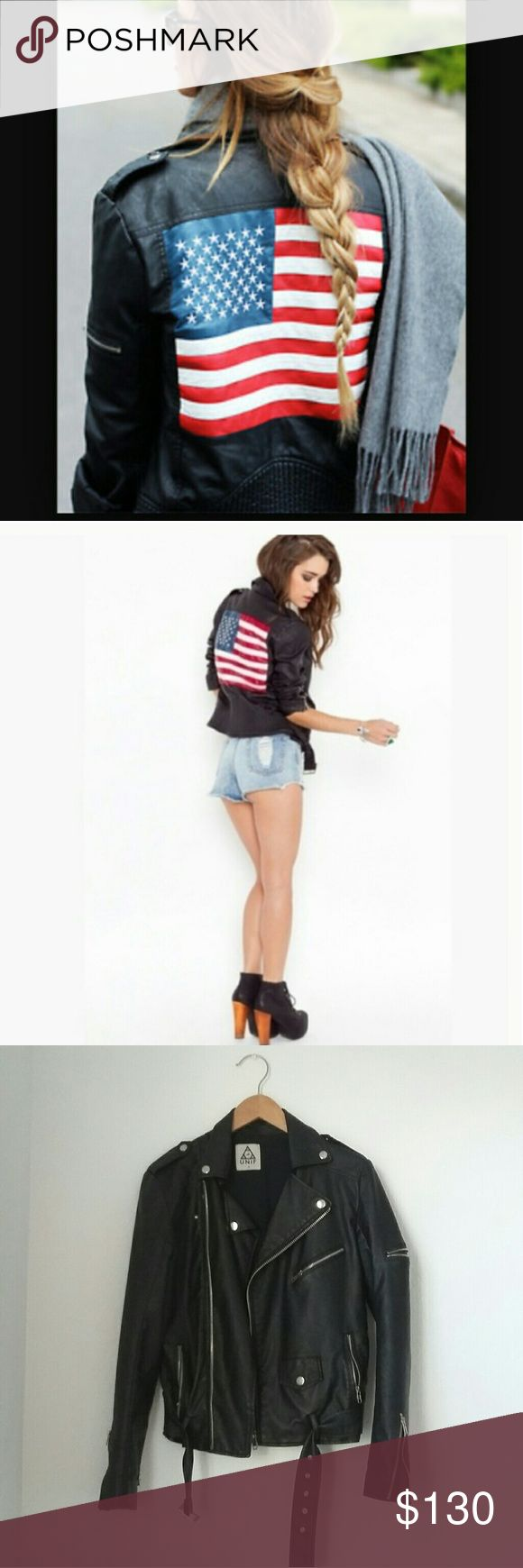 UNIF size small American Flag vegan leather jacket Size small. Like new.  Vegan leather American Flag UNIF jacket UNIF Jackets & Coats