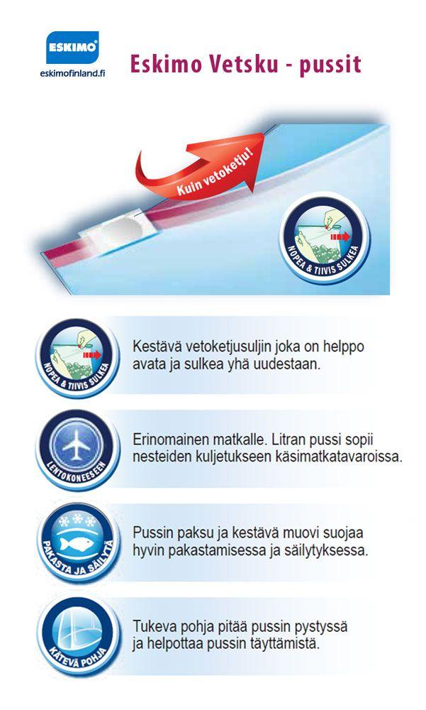 Eskimo Vetsku - ominaisuudet.  Lue lisää: http://www.eskimofinland.fi/eskimo/tuotteet/pakastaminen/vetskut/