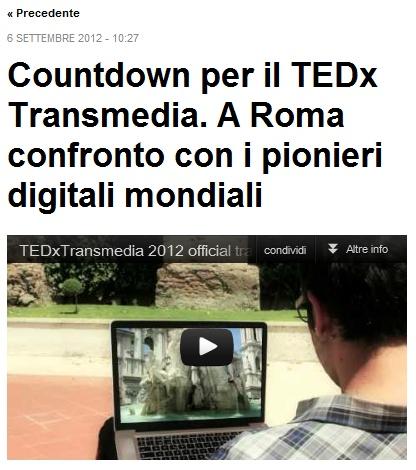 COUNTDOWN PER IL TEDX TRANSMEDIA. A ROMA CONFRONTO CON I PIONIERI DIGITALI MONDIALI