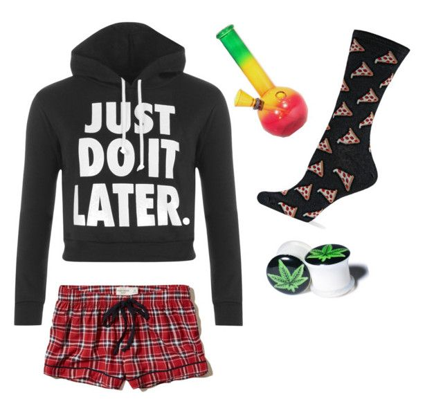 """Stoner Girl"" by satans-little-princess ❤ liked on Polyvore featuring WearAll, Hollister Co., HOT SOX, Halftone Bodyworks, stoner and StonerGirl"