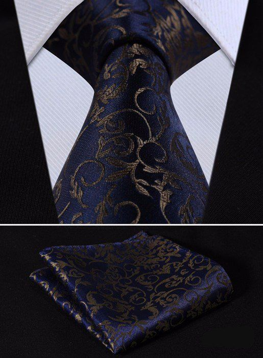 """This set is handmade from 100% silk. The tie measures 3.4"""" at its widest point. - Includes: Tie and Handkerchief - 100% SILK - Dry Clean Only"""
