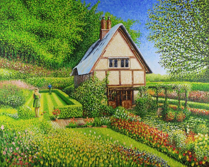 Spring #Cottage couple playing bowls by Simon Knott Artist Website at simbird.com