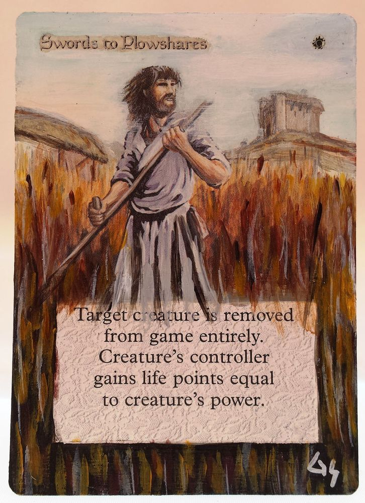 MTG Altered Art Swords to Plowshares Revised Hand Painted Full Art OOAK Magic #WizardsoftheCoast Cool~