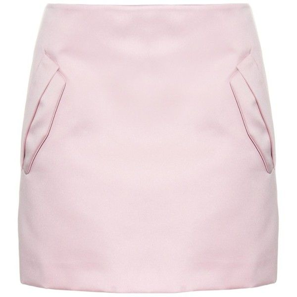 No. 21 Pocket-detail satin mini skirt ($236) ❤ liked on Polyvore featuring skirts, mini skirts, light pink, pocket skirt, pink peplum skirt, satin skirt, pink mini skirt and short skirts