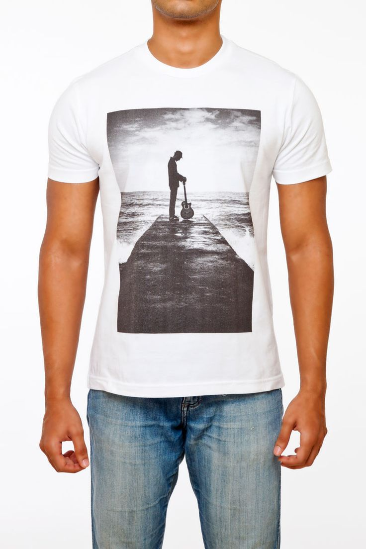 #FightingFame powered Acoustic Print 100% Cotton White Crew Neck T-Shirt. A classic take on an artist's search for tranquility. @ FightingFame.com