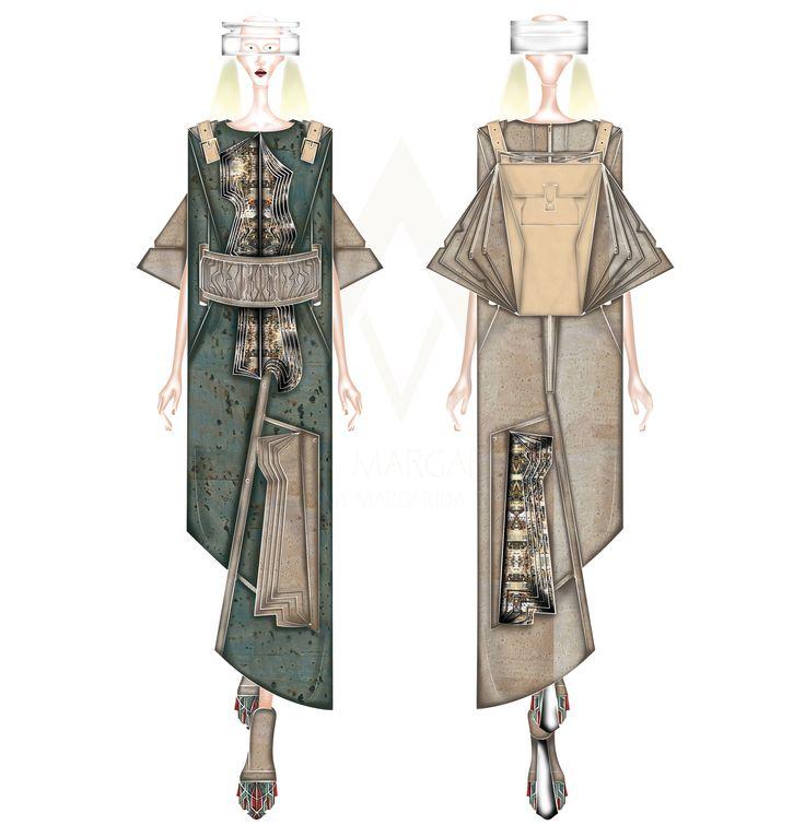 Right Ascension S\S 15  Vestido \\ Dress Cinto \\ Belt Mochila \\ Backpack Calças Samurai \\ Samurai Short  Materiais: - Látex; - Cortiça; - Cabedal; - Sarja de Algodão com estampado digital.