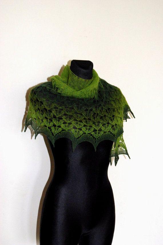 Hand Knit Lace Shawl Green Knitted Shawl Lace Shawl by aboutCRAFTS