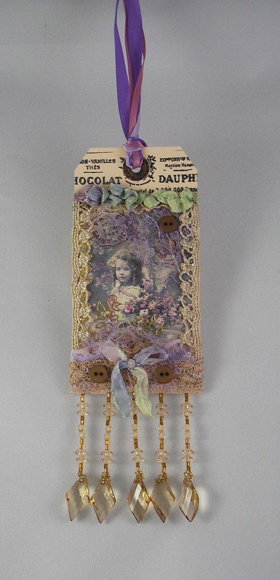 Victorian gift tag gypsy ribbon Swarovski crystals vintage lace gift tag beaded…