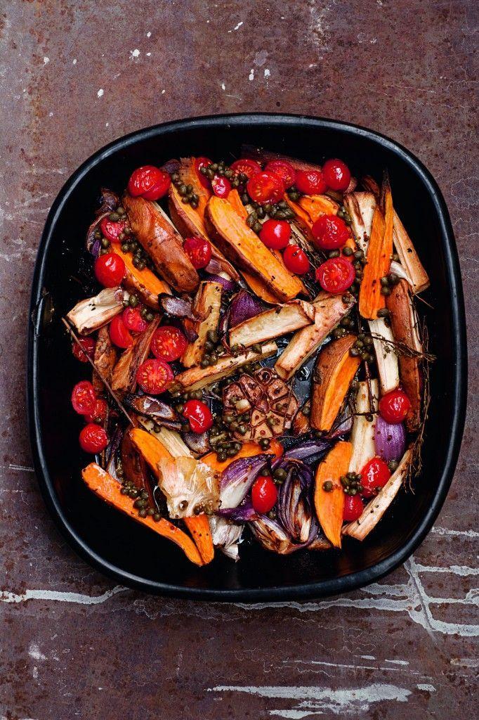Yotam Ottolenghi's Roasted Parsnips & Sweet Potatoes w/ Caper Vinaigrette #yotam_ottolenghi | http://www.pinterest.com/richtapestry/dinner-supper/