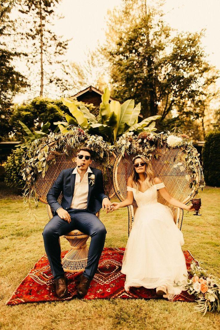 Boho Tropical Wedding, Maroni Meadows Wedding, Hawaii Wedding, Peacock Chairs, Mid-Century Modern Wedding