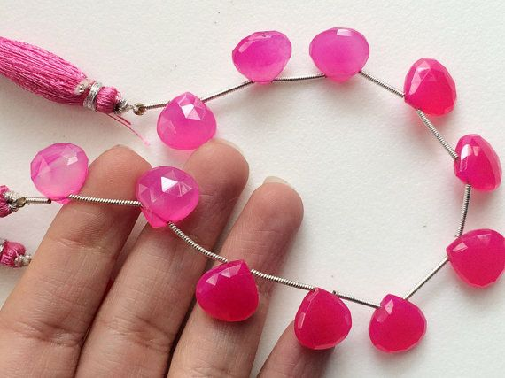 Pink Chalcedony Faceted Heart Shaded Pink by gemsforjewels on Etsy
