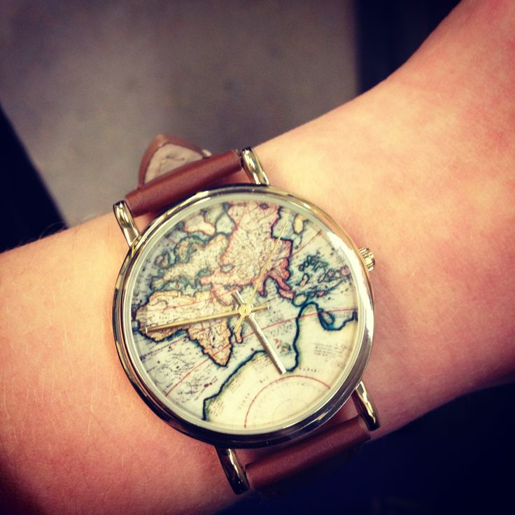vintage map watch. I'm literally obsessed with this watch. So boho and sooo cute