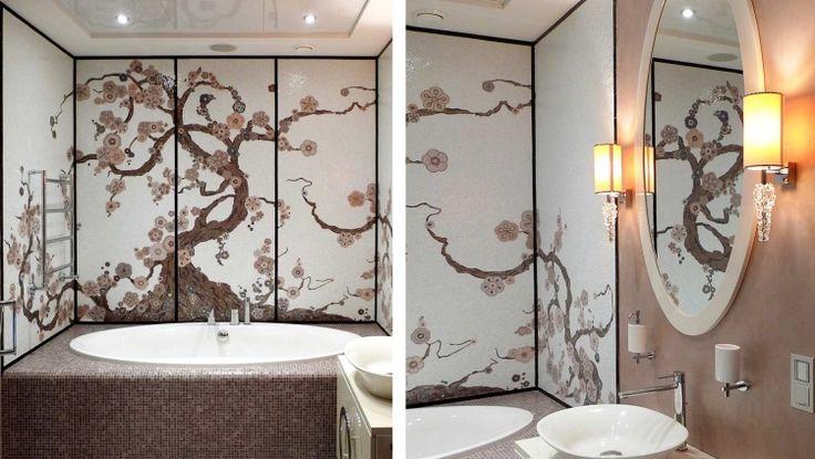 Buntes Mosaikbadezimmer, Wandpaneel im japanischen Stil und Mosaikwannendeck