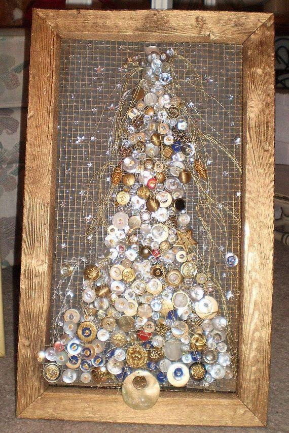 Sternenklare Nacht-Weihnachtsbaum gerahmte Button Kunst