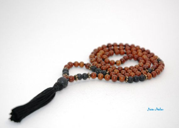 PHOENIX MALA Handknotted 6mm lava and bayong wood 108 by NaiaMalas