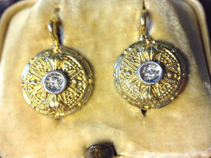 Antico splendido Victorian oro giallo 18K orecchini di diamanti | eBay