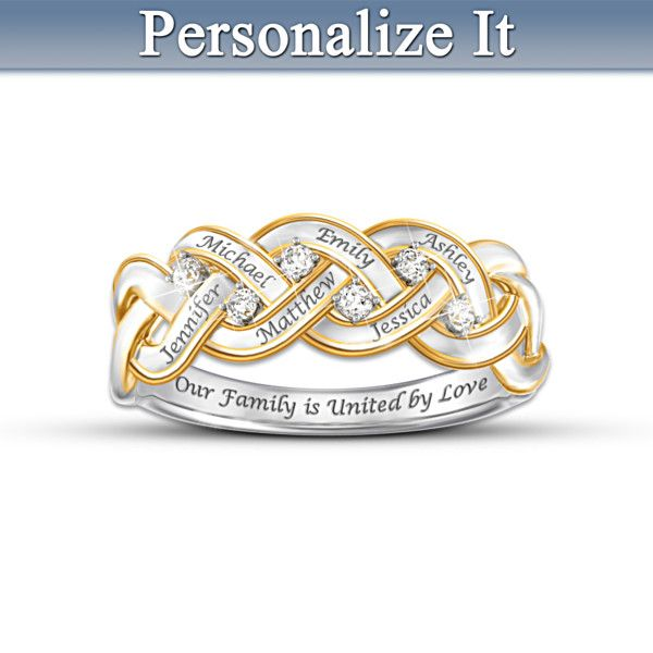 Family Personalized Diamond Ring ~ Bradford Exchange