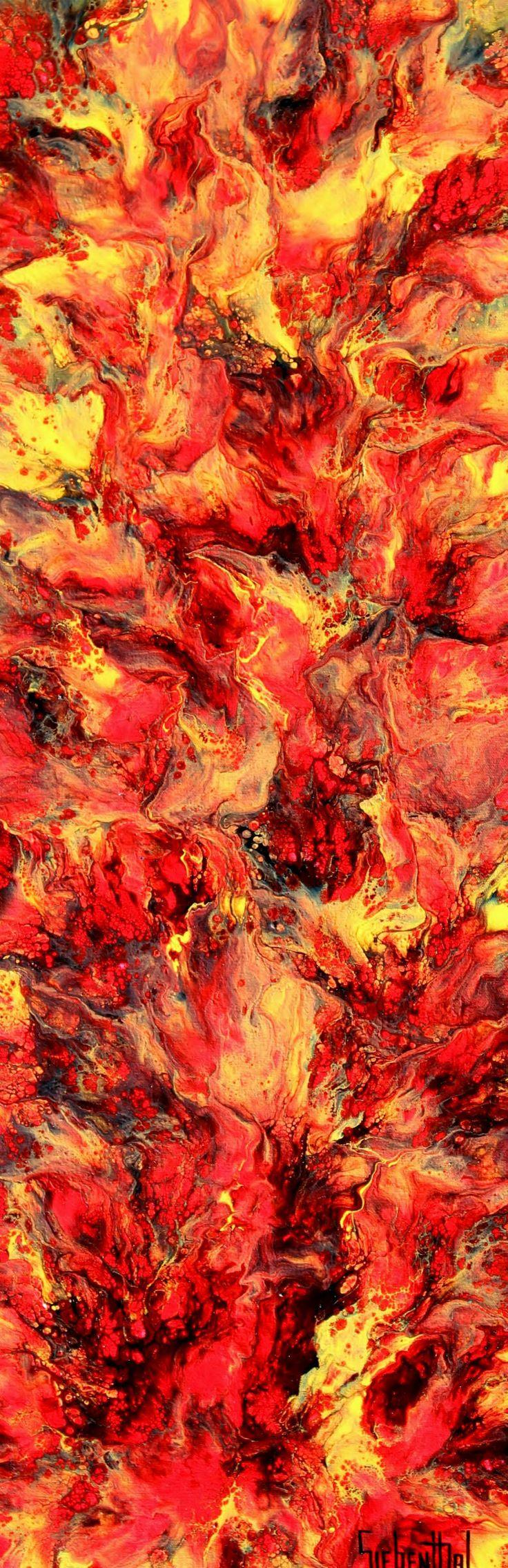 "Inferno by Eric Siebenthal | $250 | 12""w x 36""h | Original Art | http://www.vangoart.co/eric-siebenthal/inferno-daaeef89-c1b4-4cad-bcc7-3bcb31836f06 @VangoArt"