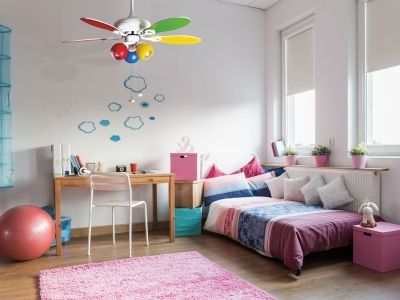 ventilateur de plafond colore, enfin un ventilateur de plafond pour enfant avec de veritable point lumineux.