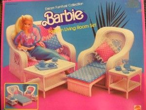 "Barbie Dream Furniture Living Room set 1983... I STILL have that ""wicker"" lounge chair tucked away in a box somewhere."