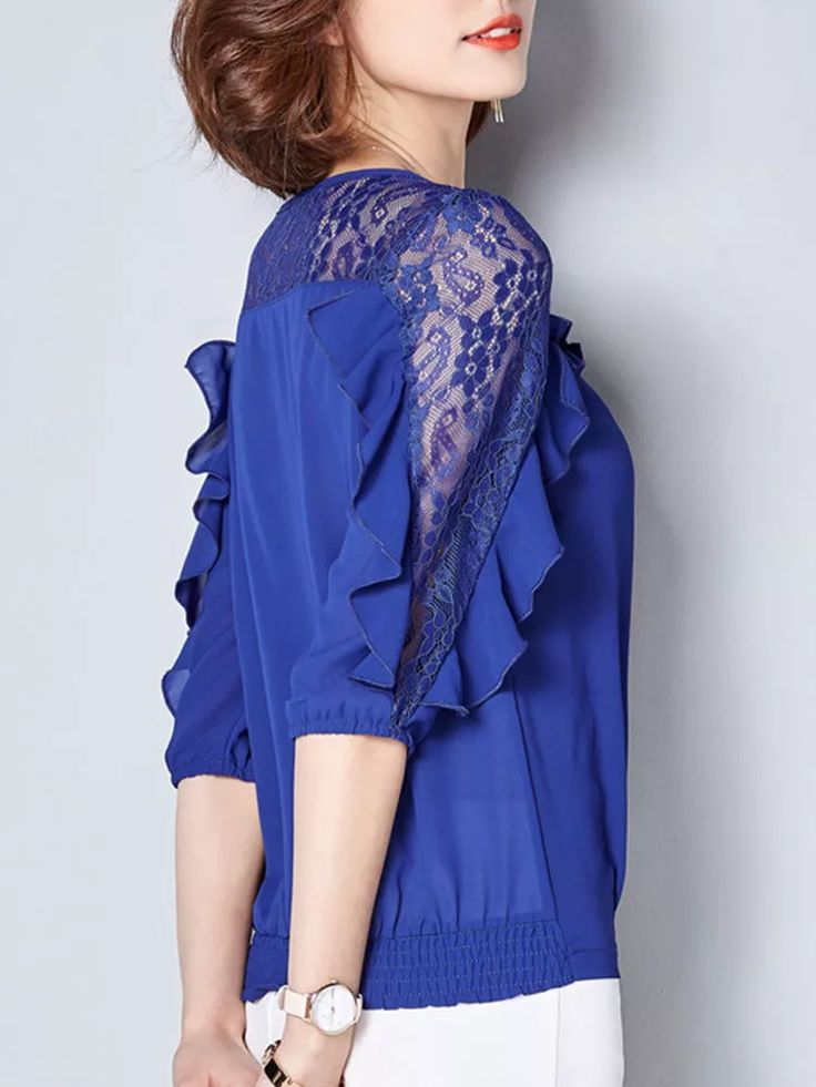 Elegant Lace Patchwork Hollow Pleated 3/4 Sleeve Blouses For Women Cheap - NewCh... 3