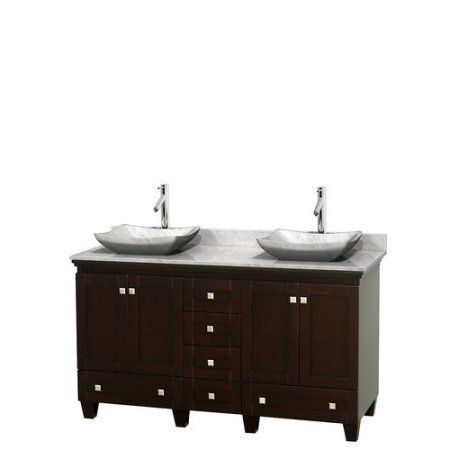 Wyndham Collection Acclaim 60 inch Double Bathroom Vanity in Espresso, White Carrera Marble Countertop, Avalon White Carrera Marble Sinks, and No Mirrors