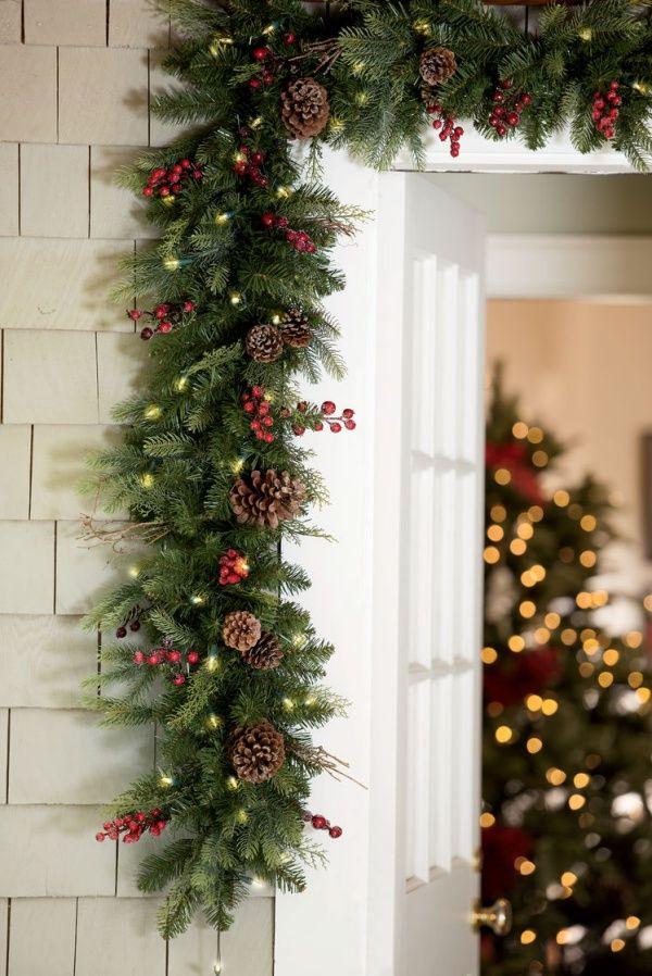 50 Better Than Neighbours Outdoor Light Decoration Ideas Diy Christmas Garland Outdoor Christmas Garland Front Door Christmas Decorations