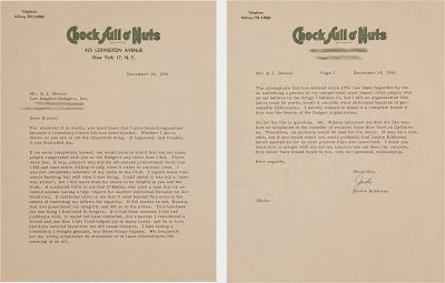Jackie Robinson's Goodbye Letter to the Dodgers, via Heritage Auctions