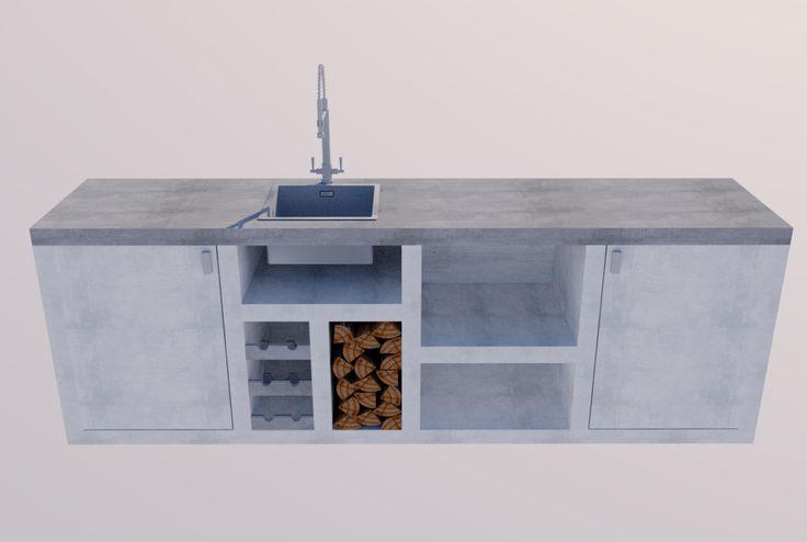 Dhz buitenkeuken douglas hout en betonlook beits. Diy Douglas wood outdoor kitchen concrete look stained