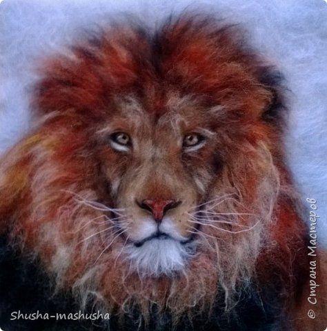 Шерстяная живопись. Лев