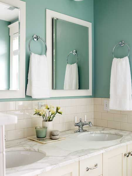Love this color for a bathroom.