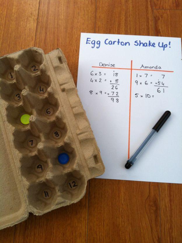Egg Carton Shake Up Multiplication and addition