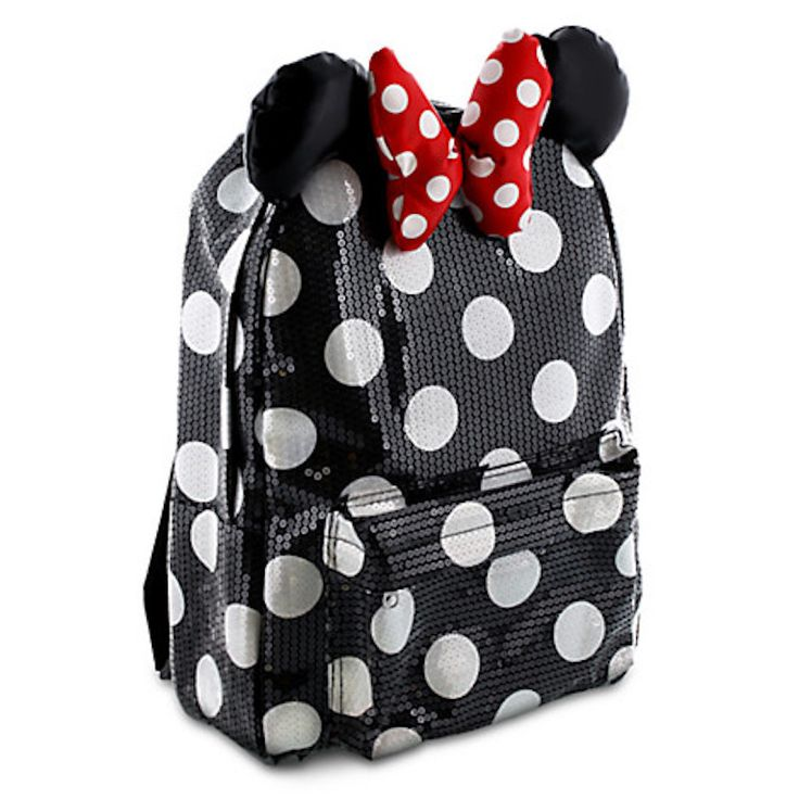Disney Parks Minnie Mouse Black Dot Sequin Backpack Bookback Bow New Allover polka dot pattern with sequins 3D ears and bow Zippered main compartment Small compartment at front with zipper Adjustable,