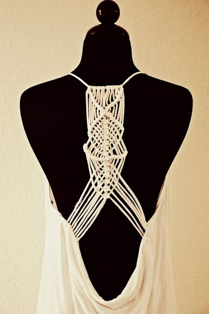 Trash To Couture: DIY macramé racerback from tshirts.