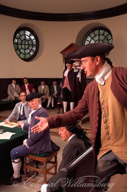 Patrick Henry circa 1764 in the House of Burgesses at the Capitol, Colonial Williamsburg, Virginia. Photo by David M. Doody.