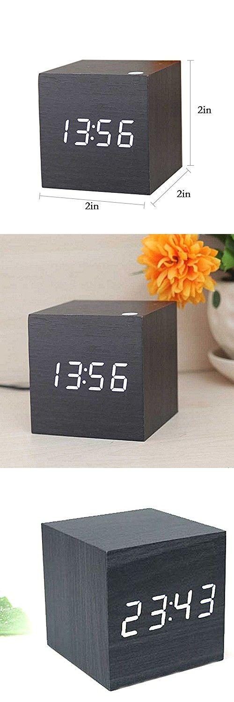 Ieasycan Multi-colors Best High-end Digital Clocks Desktop Clock Thermometer Wooden LED Alarm Clock Home Decor
