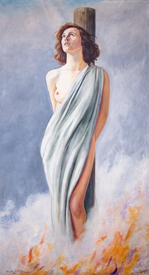 Vlastimil Hofman: Joanna d`Arc, 1931 r. olej, płótno, 170 × 96 cm sygn. i dat. l. d.: Wlastimil Hofman/1931