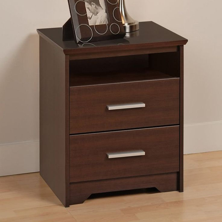 Prepac Coal Harbor 2 Drawer Tall Nightstand with Open Shelf - Espresso | from hayneedle.com