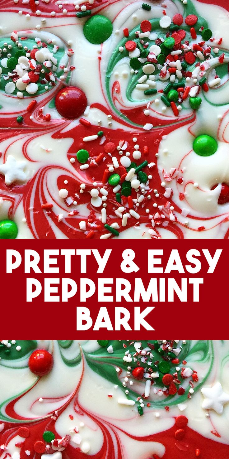 Pretty and easy peppermint bark! This is such a fun twist on the classic peppermint bark recipe, and it's super simple, the kids could even help!