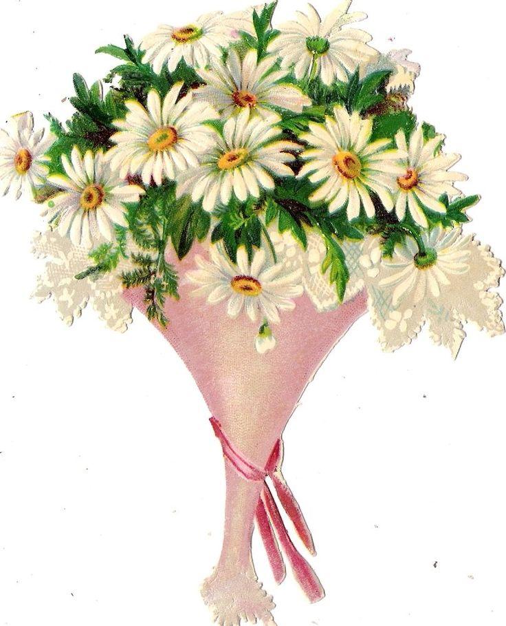 Oblaten Glanzbild scrap die cut chromo Blumen 13,5 cm  flower fleur Strauß