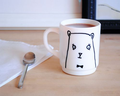 how to transfer an image from paper to a porcelain mug etc.