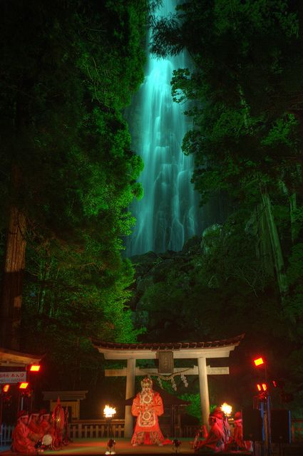 Gagaku theater at Nachi Fall, Wakayama, Japan