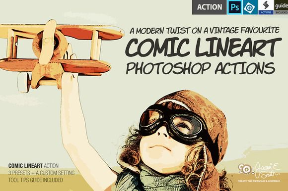 Comic LineArt Actions by Jacqui E Smith on Creative Market