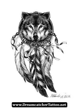 Dreamcatcher Tattoos With Wolf 17 - http://dreamcatchertattoo.net/dreamcatcher-tattoos-with-wolf-17/