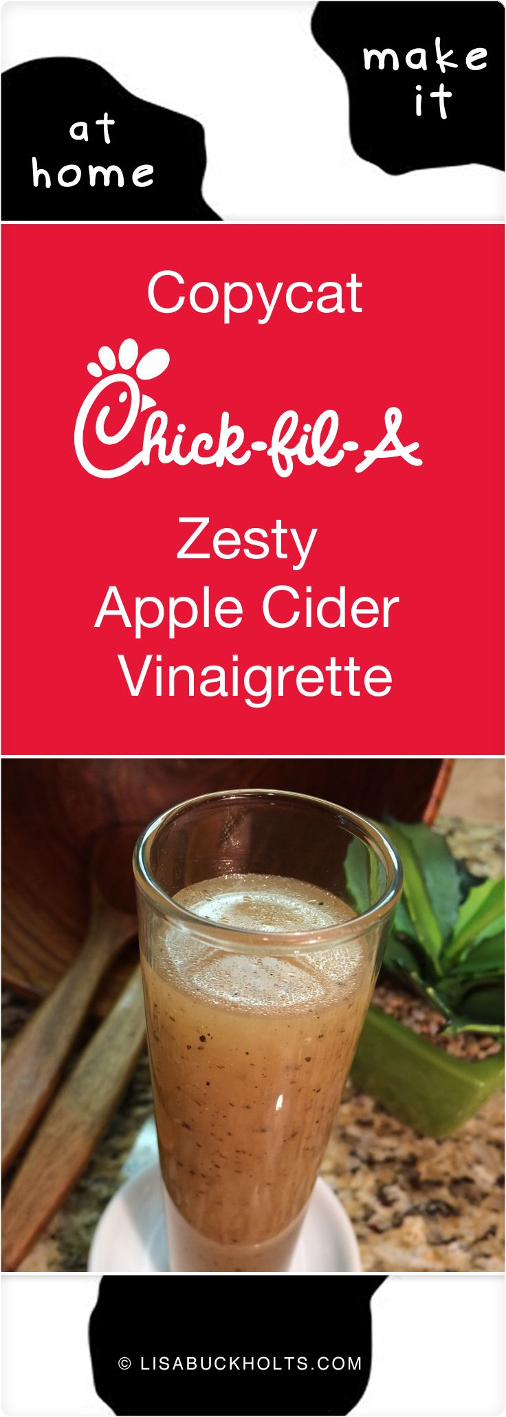 Copycat Chick-fil-A Zesty Apple Cider Vinaigrette. This dressing is amazing…the zing of the apple cider vinegar, hint of sweet pineapple and tangy lime juice and warm heat of the freshly-cracked black pepper is a sure winner!