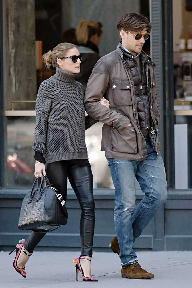 Olivia Palermo - grey turtle neck jumper - leather pants - black bag